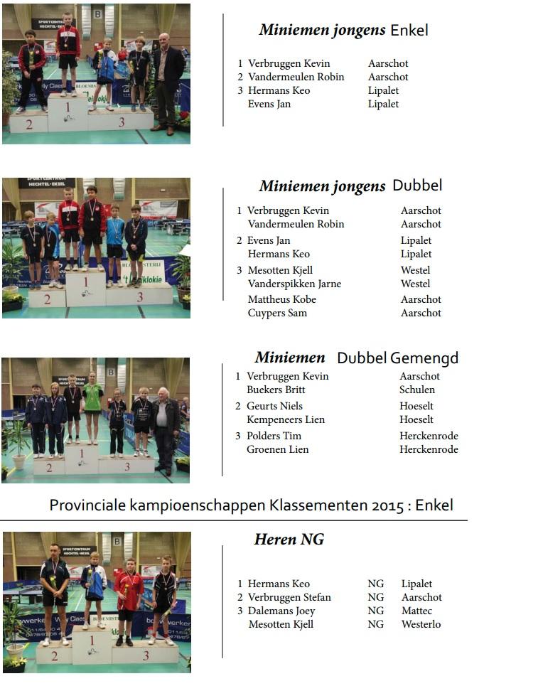 Provinciale kampioenschappen 2015 leden TTC Aarschot